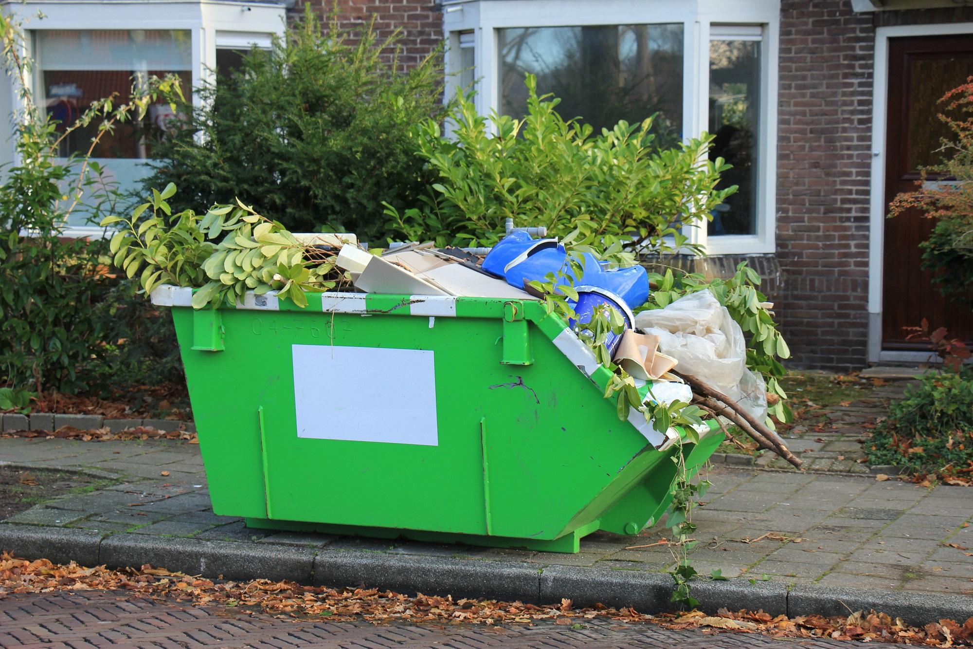 Green skip bin