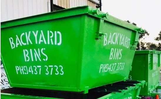 Freshly painted Backyard Bins skip