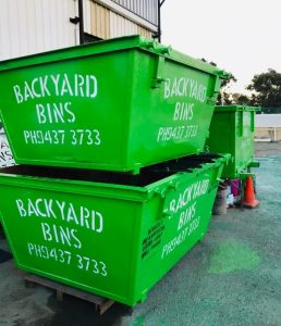 Freshly painted Backyard Bins skips