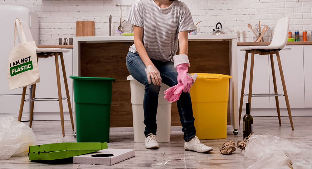 women cleaning house from waste